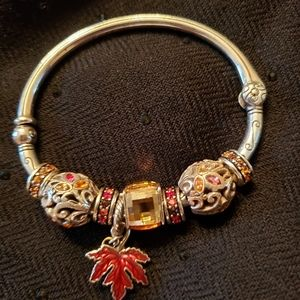 Brighton charm bangle with 8 beads, fall colors